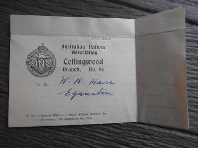 1946 Australian Natives Association ANA Collingwood dues levy RAAF veteran
