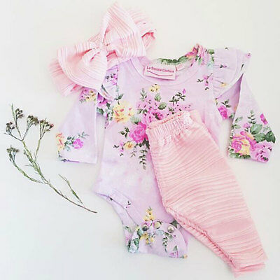 Newborn Baby Girl Romper Tops Jumpsuit Pants Headband Outfit Clothes Set UK