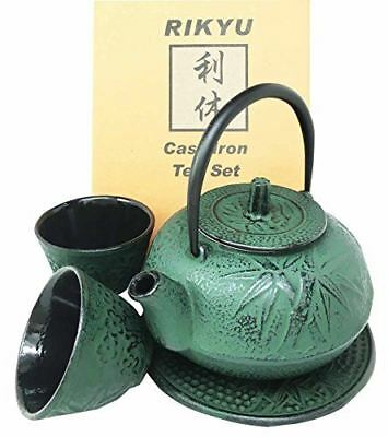 Japanese Green Bamboo Forest Green Traditional Heavy Cast Iron Tea Pot Set