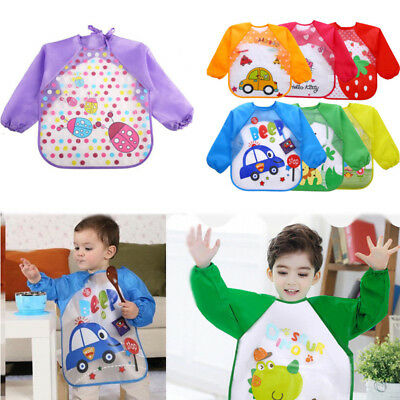 Waterproof Feeding Art Apron Bib Smock Boys Girls Baby Toddler Kids Long Sleeve