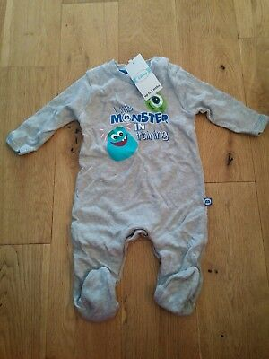 Disney monsters inc grey sleepsuit babygrow 0-3 months new with tags