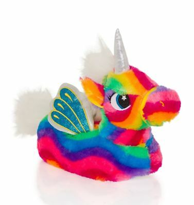 Childrens Kids Ladies Soft Fleece Plush Novelty 3D Slippers - Rainbow Unicorn