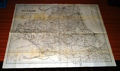 Antique Map ~ BACON'S MAP OF DURHAM on Fine Cloth ~ 1800s?