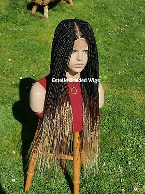 Braided Wig, Ombré Wig, Micro Twists, Lace Closure, Baby Hair, Full Density!