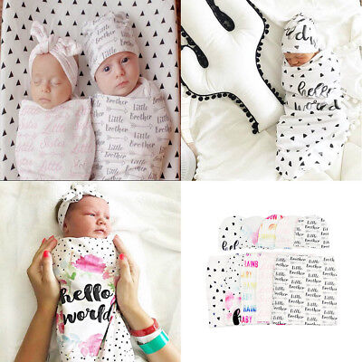 Newborn Baby Boy Girl Cocoon Swaddle Blanket Sleeping Swaddle Wrap Hat/Headband