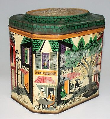 Vintage Old Hinged NESTLE Chocolate Tin with French Paris Cafe Scene 1950s