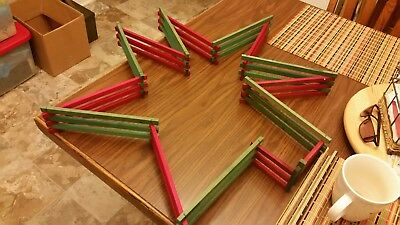 Vintage Christmas Tree Fence Red & Green 10'