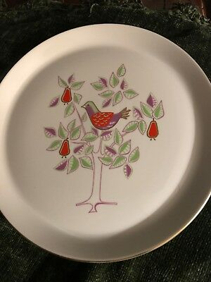 """1964–Shenango China 12 Days of Christmas 9.75"""" Plate- """"A PARTRIDGE IN A PEAR TR"""""""