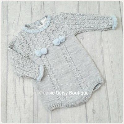 Boys Gorgeous /Grey Spanish Knitted Pom Pom Romper ☆
