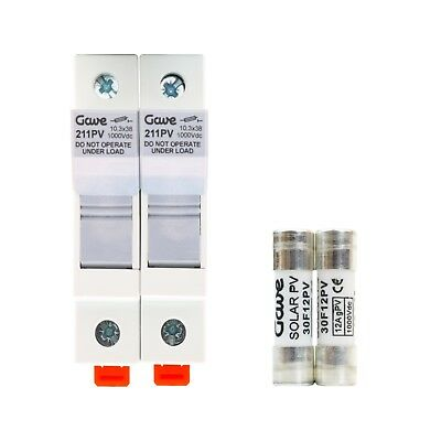 Solar PV String Fuses 15A dc protection ABB - GAVE Electro - 1x Pair of Holders