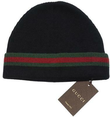 New Gucci Black Knit Wool Silk Web Detail Beanie Hat 100% Authentic 59 large 14a4e808edc