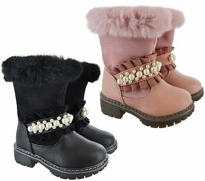 Kids Girls Children Winter Warm Ankle Faux Fur Linned Flat Pearls Shoes Boots Sz