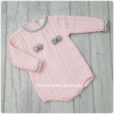 Girls Gorgeous Pink Spanish Knitted Pom Pom Romper ☆