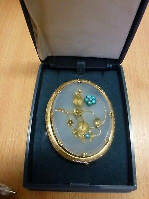Beautiful Victorian Chalcedony & Turquoise Brooch, Gold Plated (?)          #wo#