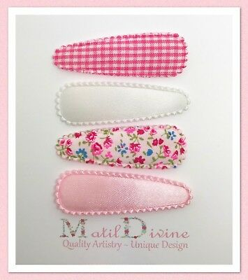 Baby Girl Toddler Non Slip Hair Clips Bow 4.7cm Snap Clips Pink White Set of 4
