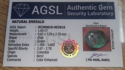 1.60 CT Esmeralda Natural Colombia Forma Oval y Certificado AGSL