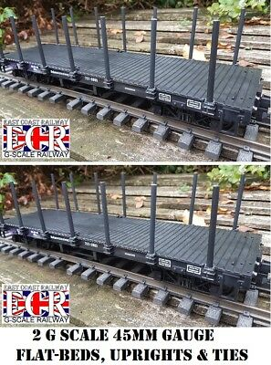 2, YES TWO G SCALE FLATBED TRUCK, POSTS & STRAPPING  RAILWAY FREIGHT  45mm GAUGE