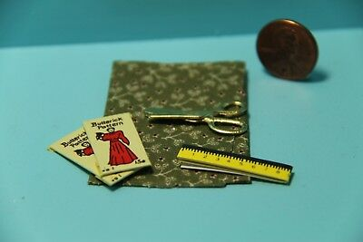 Dollhouse Miniature Sewing Set Green Fabric, Scissors, Patterns & Tape Measure