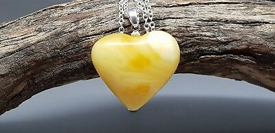 3,1 gr Genuine Natural Butterscotch Baltic Amber Heart Pendant Necklace