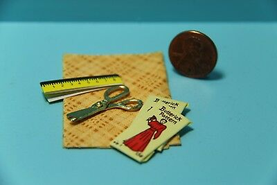 Dollhouse Miniature Sewing Set Yellow Fabric, Scissors, Patterns & Tape Measure
