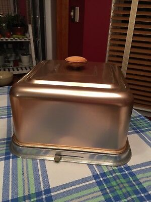 Vintage cake carrier/cover, Mirro, the finest pink aluminum, Copper Color Retro