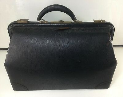 Antique Warranted Cowhide Leather Doctor Bag B.t.m. Co. Carry Case Beautiful