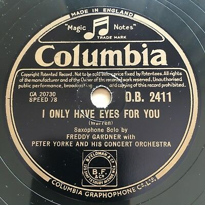 78rpm FREDDY GARDNER I ONLY HAVE EYES FOR YOU / I'M IN THE MOOD Columbia DB2411