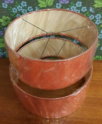 Pair of Original NEW Orange Vintage 70's Drum Lightshades / Lampshades