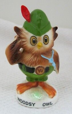 "Vintage Woodsy Owl Bone China Figurine 3"" Hand Painted Great Shape T104"