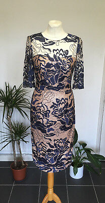 JOHN CHARLES Mother of the Bride Copper Mink Lining Blue Embroidered Lace Dress