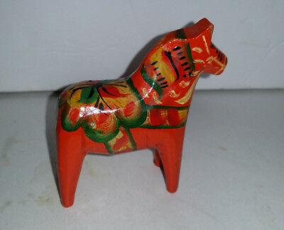 "Vintage Swedish Folk Art ORANGE Painted Wood MAGIC DALA HORSE mini 2-3/4"" high"