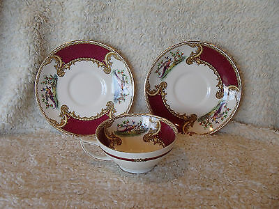 Myott Staffordshire CHELSEA BIRD Red 1 Cup & 2 Saucer Set  - Lot #2