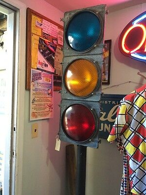 Vintage Traffic Light Sign With Stand made by Traffic Control Technologies NY