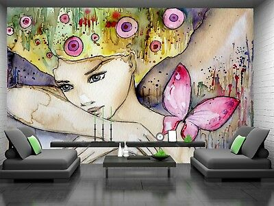 Girl with Butterfly   Photo Wallpaper GIANT DECOR Paper Poster Free Paste