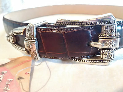 """""""Brighton"""" NWT~1"""" W Brown Textured Leather Belt Silver Buckle ~XS Size 26 ~24-28"""
