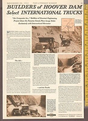 Vintage Original 1931 INTERNATIONAL HEAVY DUTY TRUCKS build HOOVER DAM full-page
