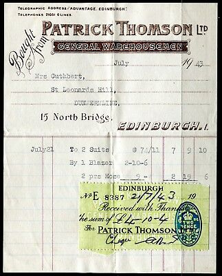 'Patrick Thompson Ltd' Edinburugh 1943 invoice & tax receipt with tax stamp