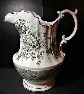 """Rare Dunn & Bennett England """"Primula"""" Imperial Green 12 1/4"""" Big Floral Pitcher"""