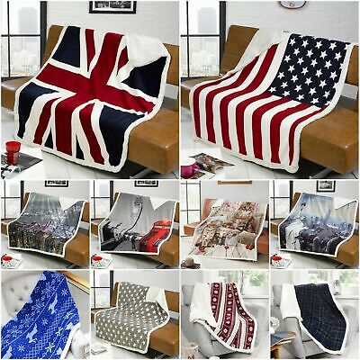 Luxury Sherpa Faux Fur Throw Fleece Blanket Sofa Bed Union Jack Skyline Animals