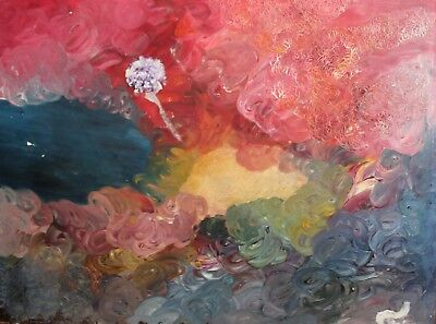 Vintage abstract expressionist oil painting signed