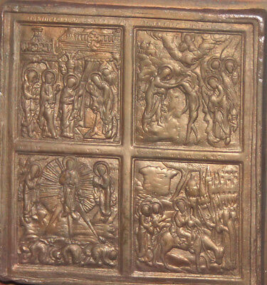 Vintage hand made religious bronze copper relief plaque