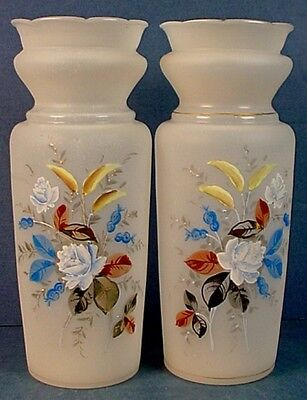19th CENTURY MATCHED PAIR ANTIQUE ENGLISH ETCHED & ENAMELED BRISTOL GLASS VASES
