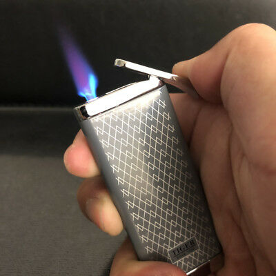 Tiger Jet Torch Flame Ultra-thin Butane Windproof Cigar Cigarette Lighter Gray