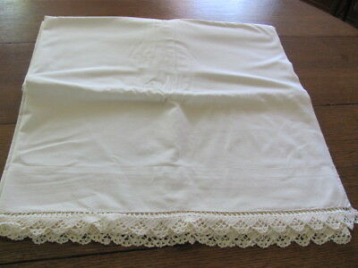 Vintage white cotton sheet with elaborate hand crocheted trim