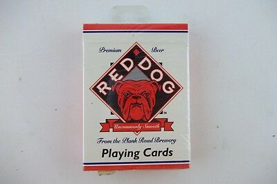 Vintage Red Dog Beer Plank Road Hoyle Poker Size Playing Cards Deck, NEW!