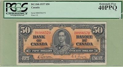 1937 Bank of Canada 50 Dollar Note - Gordon/Towers - B/H0986570 - PCGS EF-40