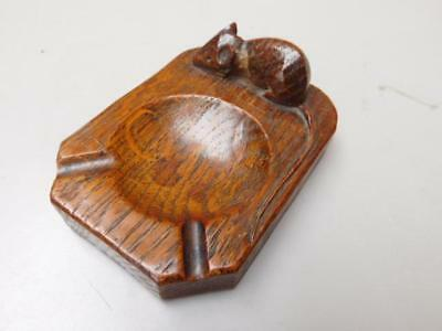 Mouseman Robert Thompson Hand Carved English Oak Wooden Ashtray