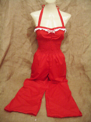 Red halterneck 1930's 1940's style dungaree playsuit jumpsuit romper! Rockabilly