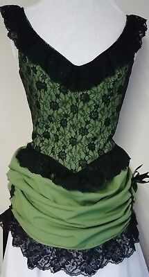 Victorian showgirl style costume.  Green & Black.  34 bust.