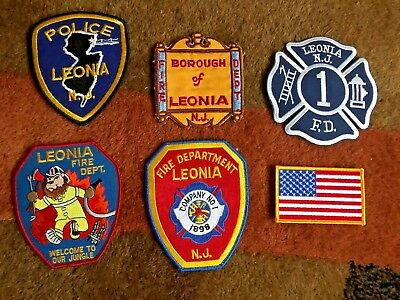 Lot of 6 Leonia NJ Fire Dept & Police Patches